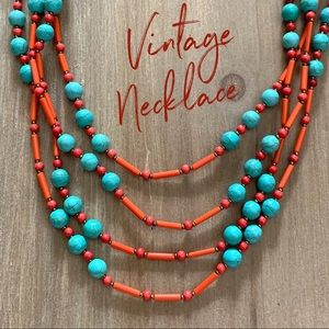 Red coral turquoise vintage multi strand necklace